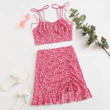 Ditsy Floral Print Knotted Cami Top & Skirt Set