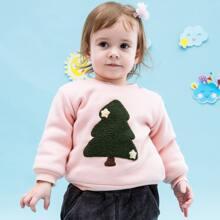 Sweatshirt mit Baum Muster und Vlies Futter