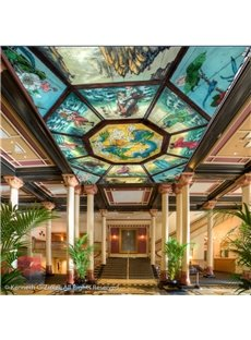 3D Dragon Pattern PVC Waterproof Sturdy Eco-friendly Self-Adhesive Ceiling Murals