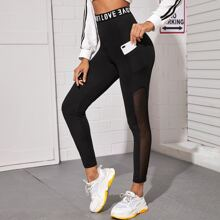 Letter Graphic Tape Contrast Mesh Leggings