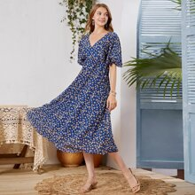 Ditsy Floral Butterfly Sleeve Dress