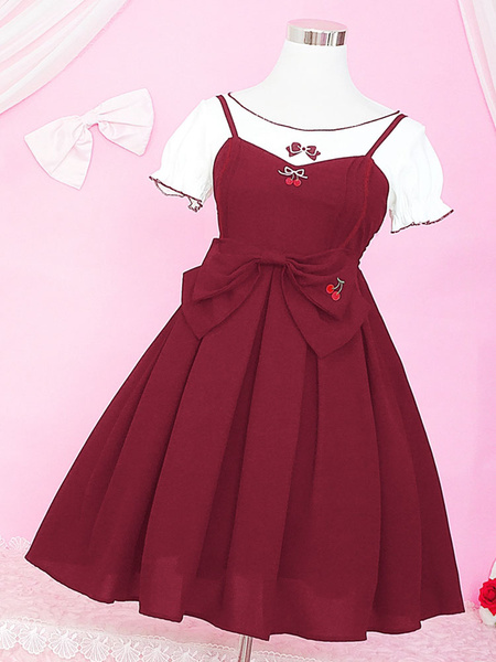 Milanoo Classic Lolita Outfit Cherry Embroidered Bow Ruffle Two Tone Lolita JSK With Top