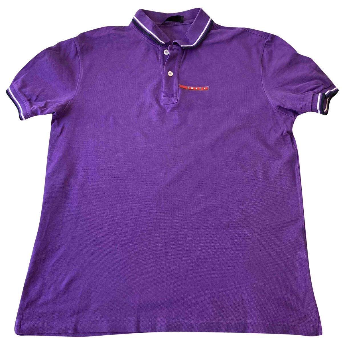 Prada - Polos   pour homme en coton - violet