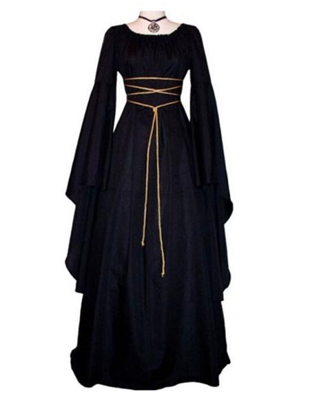 Milanoo Black Vintage Costume Gothic Long Sleeves Maxi Dress For Women's Dress Halloween