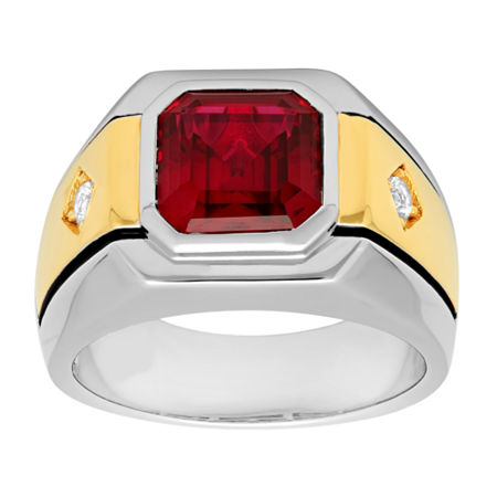 Mens Lab-Created Ruby & White Sapphire Ring, 11 , No Color Family