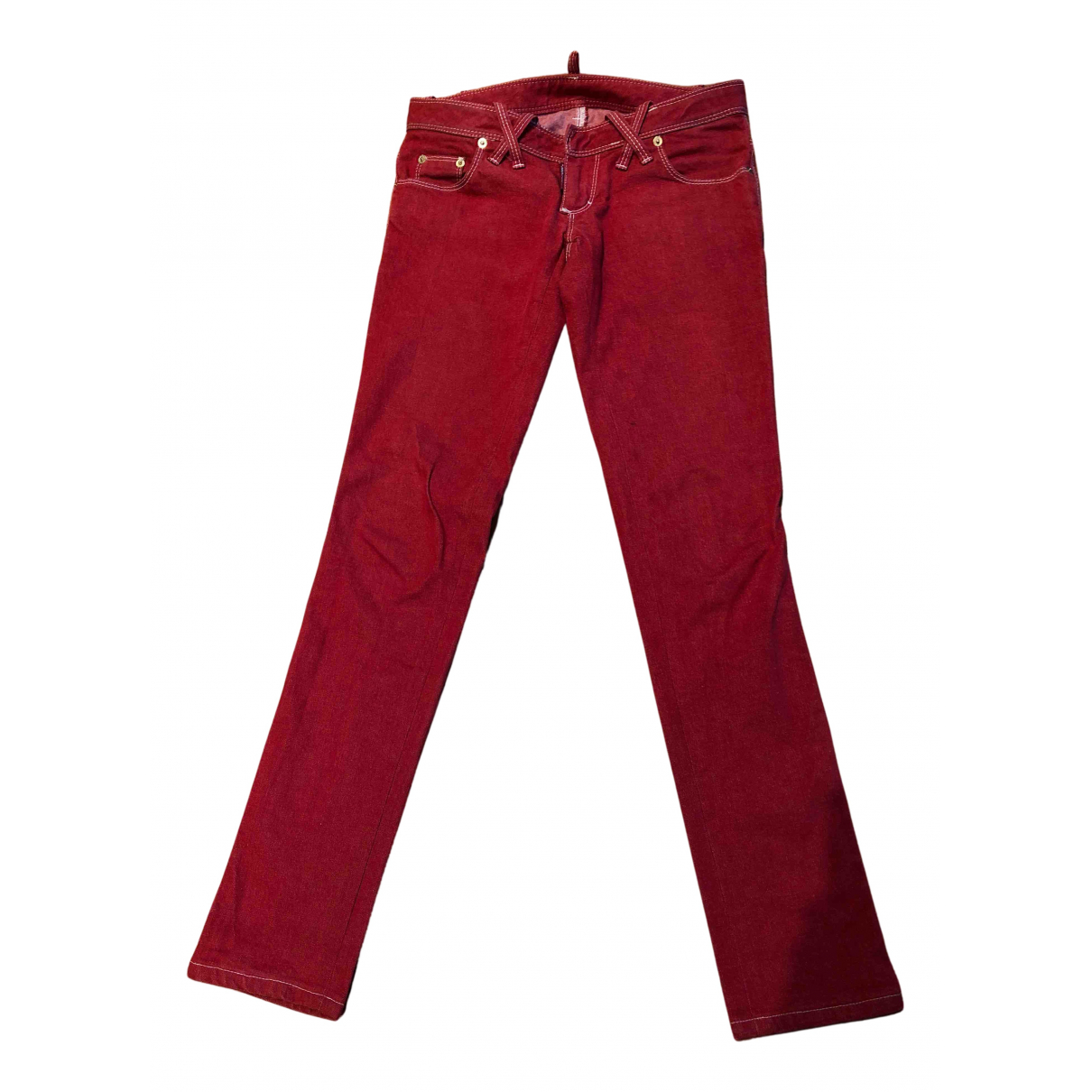 Dsquared2 N Red Cotton Trousers for Women 38 IT