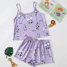 Cami Top mit Buchstaben & Panda Muster & Shorts Set