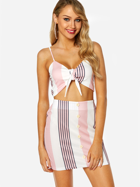 Yoins Pink Self-tie Design Top & Button Embellished Skirt Two Piece Outfits