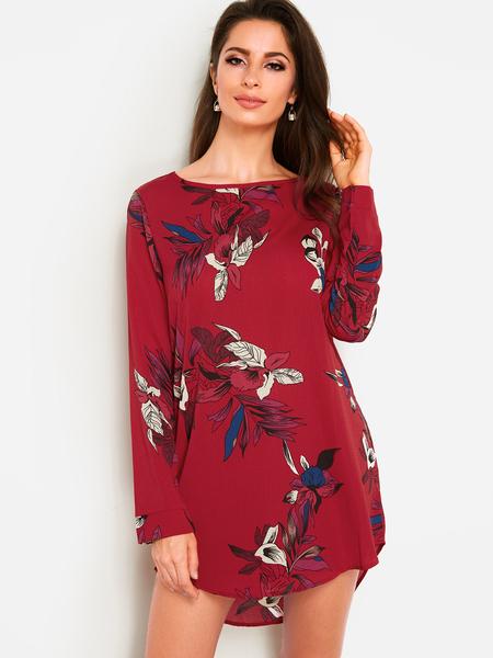 Yoins Burgundy Random Floral Print Round Neck Long Sleeves Curved Hem Dress
