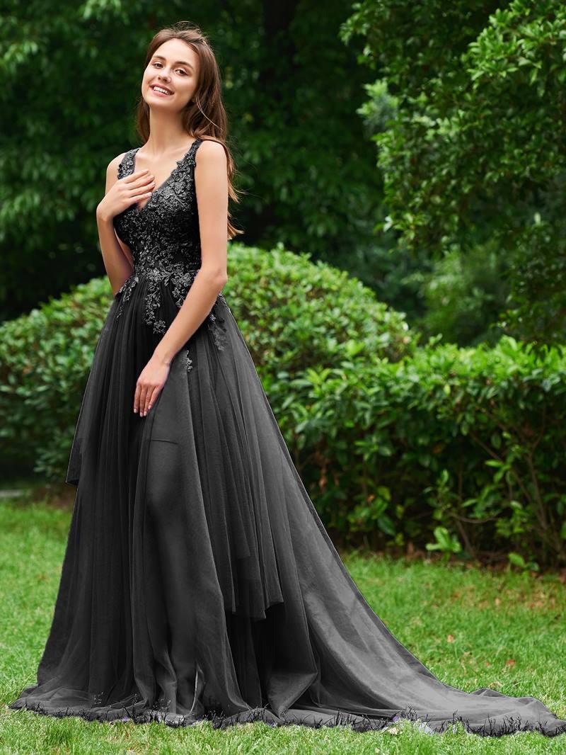 Ericdress A Line V Neck Appliques Prom Dress