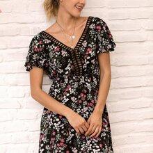 Lace Insert Open V-back Ditsy Floral Dress