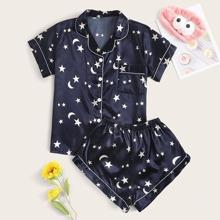 Conjunto de pijama de saten con bolsillo con estampado de galaxia