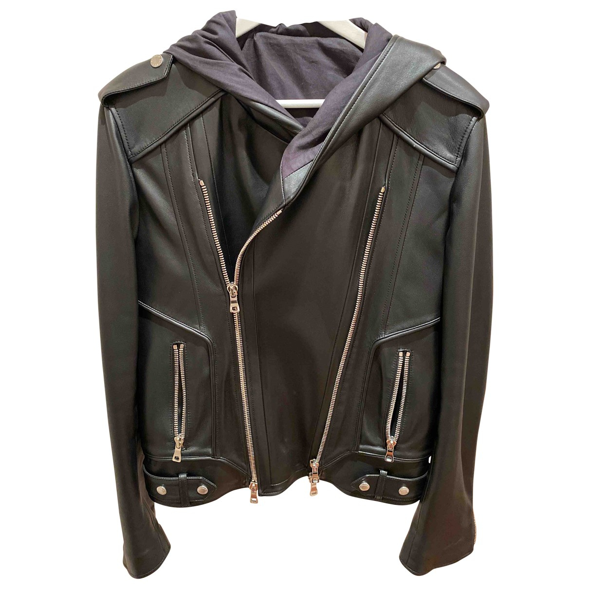 Balmain \N Black Leather jacket  for Men 48 FR