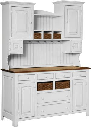 Amity Collection 465-099-CW Two Tone Hutch with Baskets  6 Doors  6 Drawers  Country Style  Wood Base in White