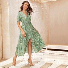 Paisley Print Split Hem A-line Dress