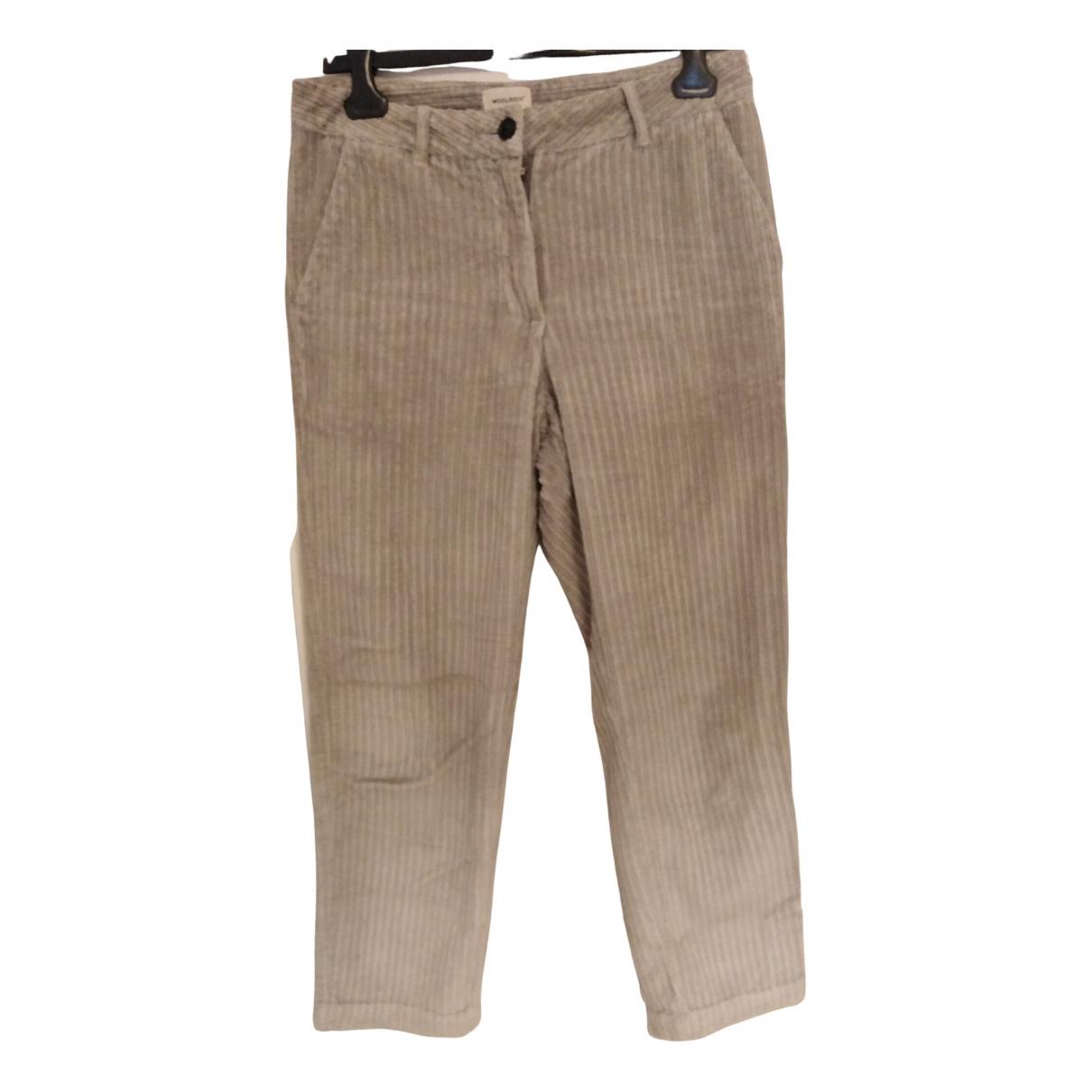Woolrich N Grey Velvet Trousers for Women 42 IT