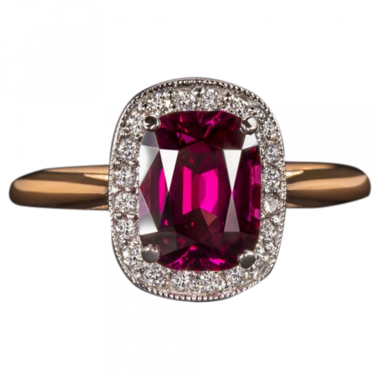 Non Signe / Unsigned Solitaire Ring in  Rot Rosegold