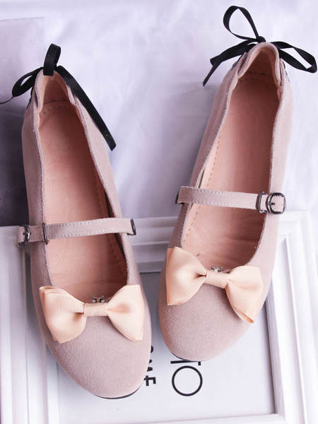 Milanoo Sweet Lolita Pump Suede Bow Lace Up Apricot Lolita Shoes