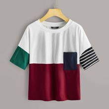 Colorblock Pocket Front Top