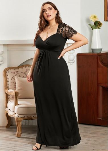 Lace Panel Short Sleeve Plus Size Maxi Dress - 3X