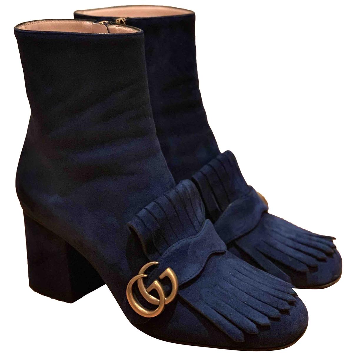 Gucci - Boots Marmont pour femme en suede - marine