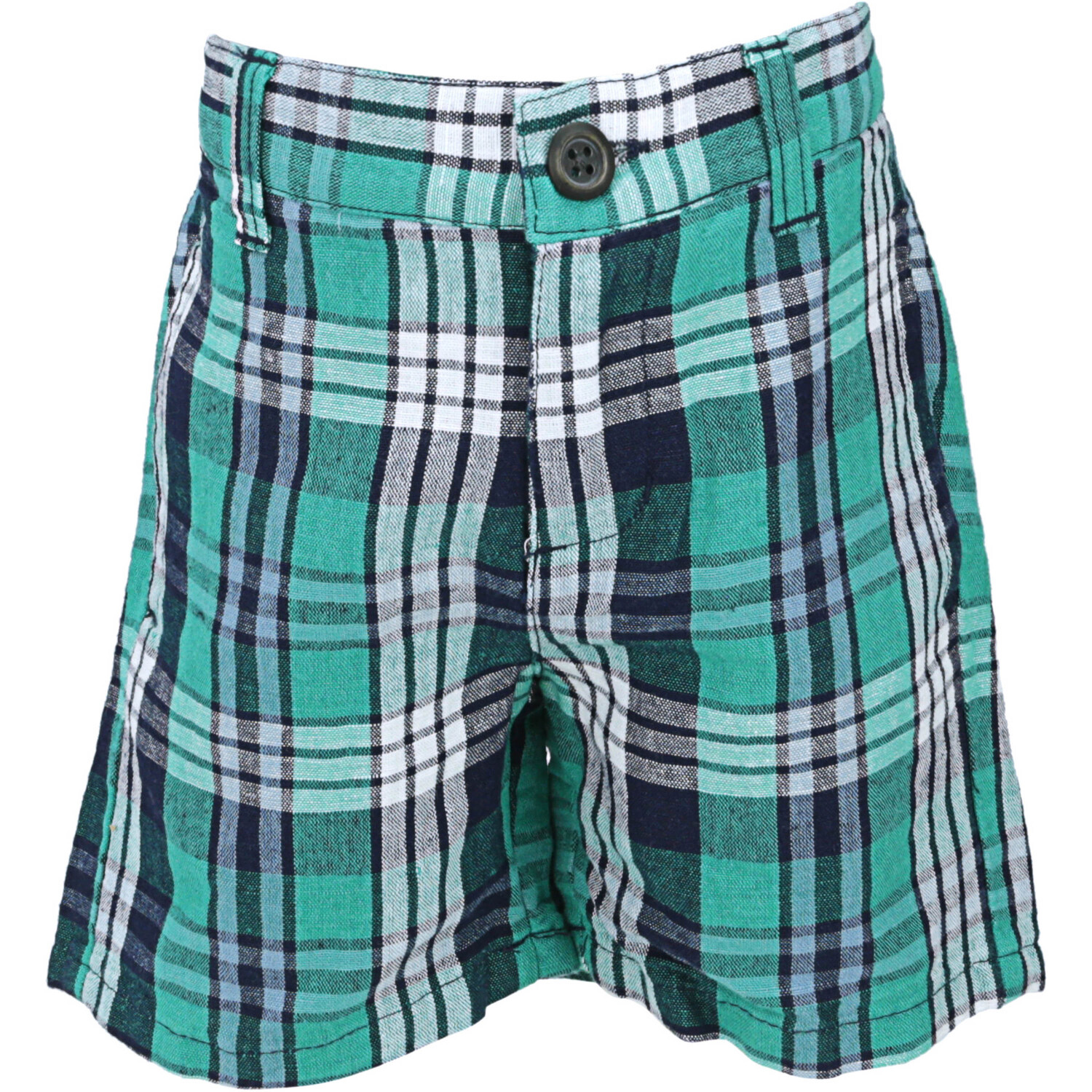 Janie And Jack Boy's Green / Navy Plaid Linen Short - 2T
