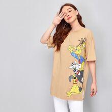 Camiseta bajo con abertura con dibujos animados