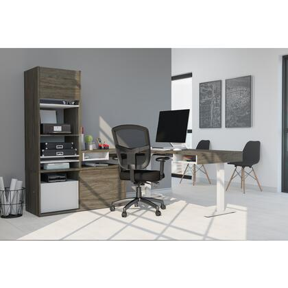 130852-000035 Pro-Vega Height Adjustable L-Desk with Storage Tower in Walnut Grey &