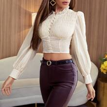 Frill Neck Shirred Bust Puff Sleeve Crop Blouse