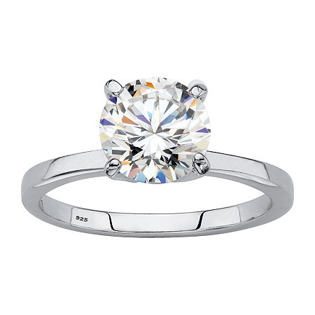 DiamonArt Womens 1 7/8 CT. T.W. Lab Created White Sapphire Platinum Over Silver Round Engagement Ring, 7 , No Color Family
