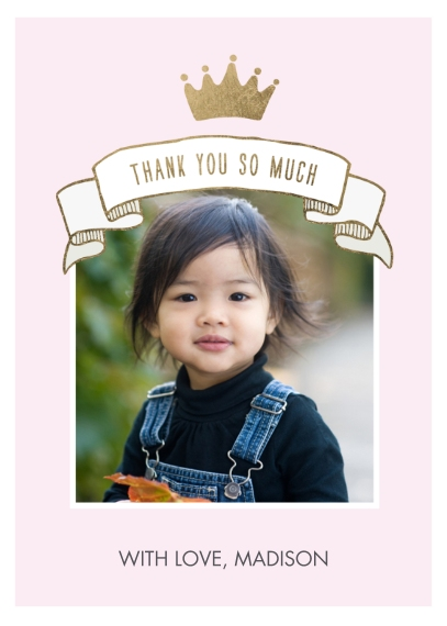 Kids Mail-for-Me Premium 5x7 Folded Card , Card & Stationery -Thank You Princess Photo Crown