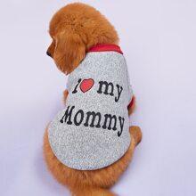 Pullover mit Buchstaben Grafik fuer Hund