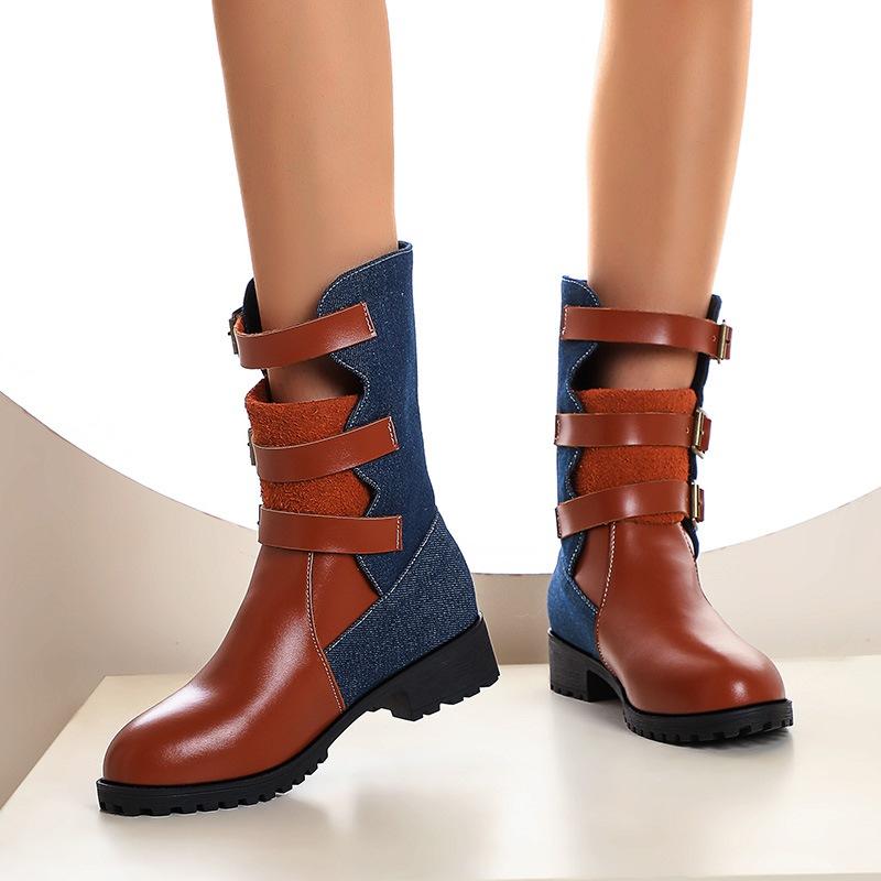 Ericdress Color Block Block Heel Round Toe Casual Boots