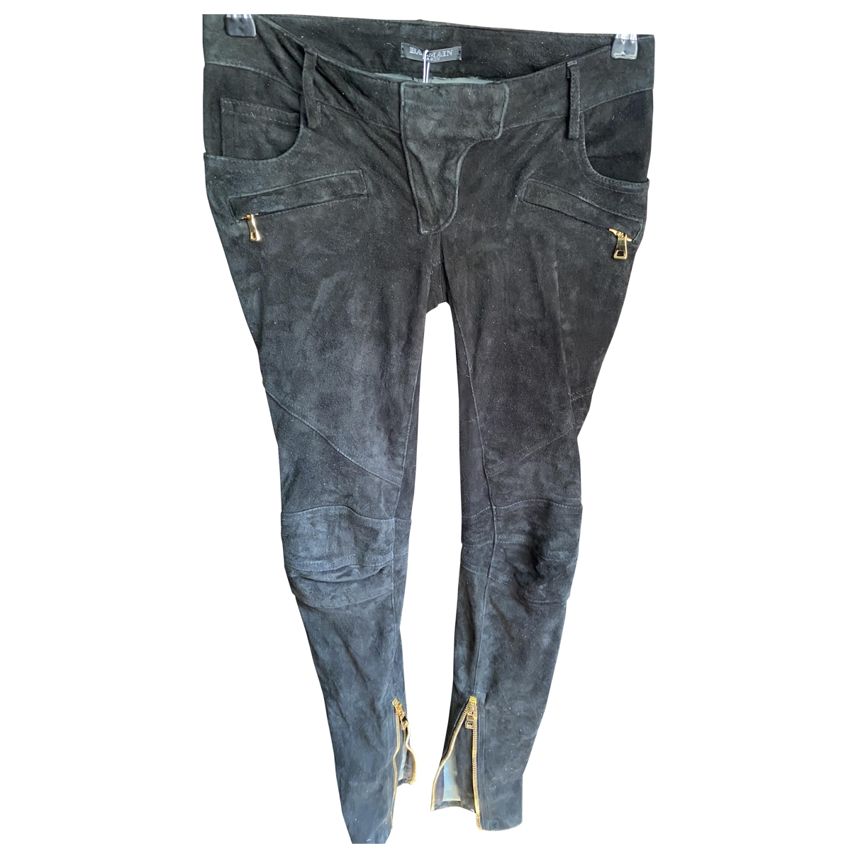 Balmain \N Black Suede Trousers for Women 34 FR