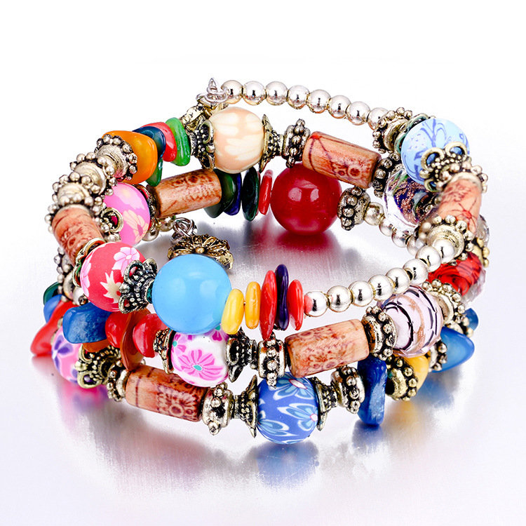 Bohemian Colorful Stone Beaded Bracelet Multilayer Wooden Charm Bracelet Gift for Her
