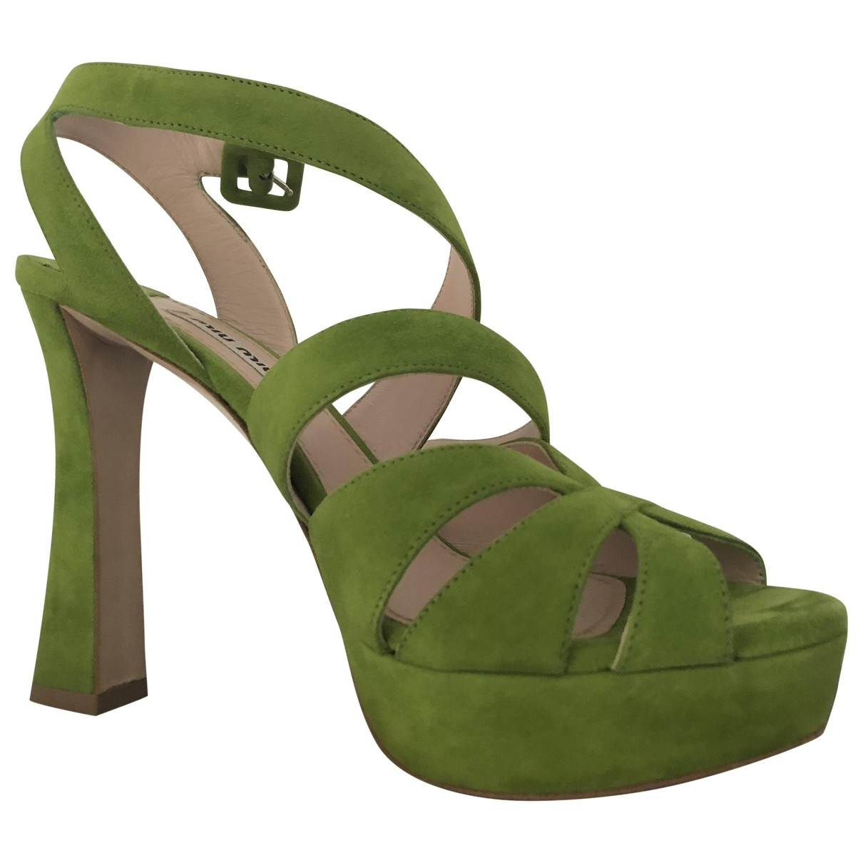 Miu Miu \N Green Suede Sandals for Women 37.5 EU