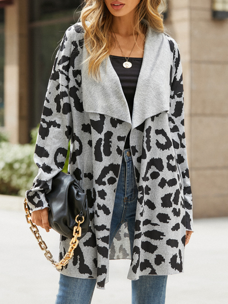 YOINS Grey Leopard Lapel Collar Long Sleeves Cardigan
