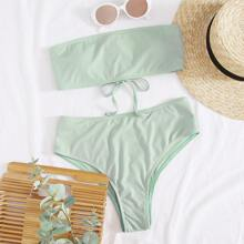 Bandeau Bikini Badeanzug mit hoher Taille