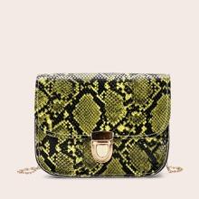 Push Lock Snakeskin Crossbody Bag