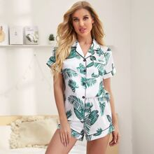 Contrast Binding Tropical Print Satin Night Set