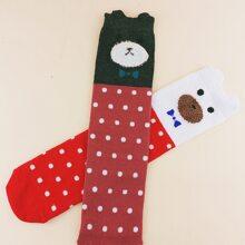 2 Paare Kleinkind Maedchen lange Socken mit Punkten Muster