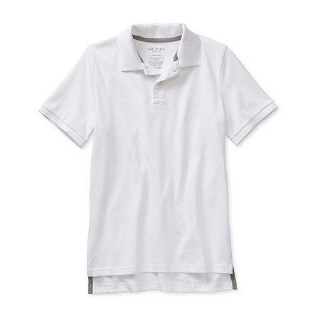 Arizona Little & Big Boys Short Sleeve Polo Shirt, Medium (10-12) , White