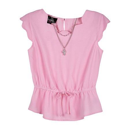 by&by girl Little & Big Girls Y Neck Short Sleeve Blouse, Medium (10-12) , Pink