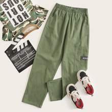 Jungen Hosen mit Buchstaben Grafik und Tasche Flicken