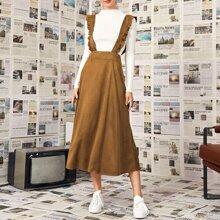 Suede Kleid mit Rueschen