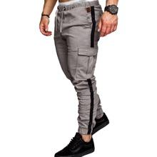 Pantalones cargo con bolsillo con solapa con cinta lateral