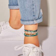 Rhinestone Detail Layered String Anklet 4pcs