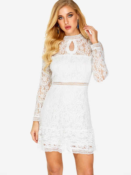 Yoins White Lace Design Crew Neck Long Sleeves Dress