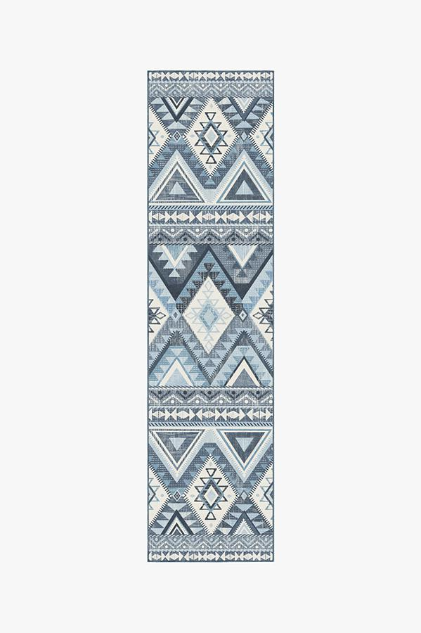 Washable Rug Cover & Pad | Pueblo Blue Rug | Stain-Resistant | Ruggable | 2.5'x10'