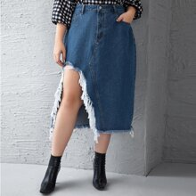 Plus Raw Edge Asymmetrical Hem Denim Skirt